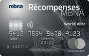 La carte de crédit Mastercard<sup>MD</sup> Récompenses MBNA World Elite<sup>MD</sup>